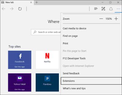 شرح طريقة تركيب الإضافات في متصفح Microsoft Edge