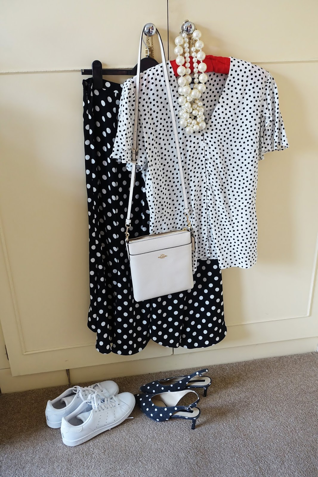 Something old: fluted hem polka dot trousers and how to wear them: either with white trainers or polka dot kitten heels and a contrasting polka dot top from this year