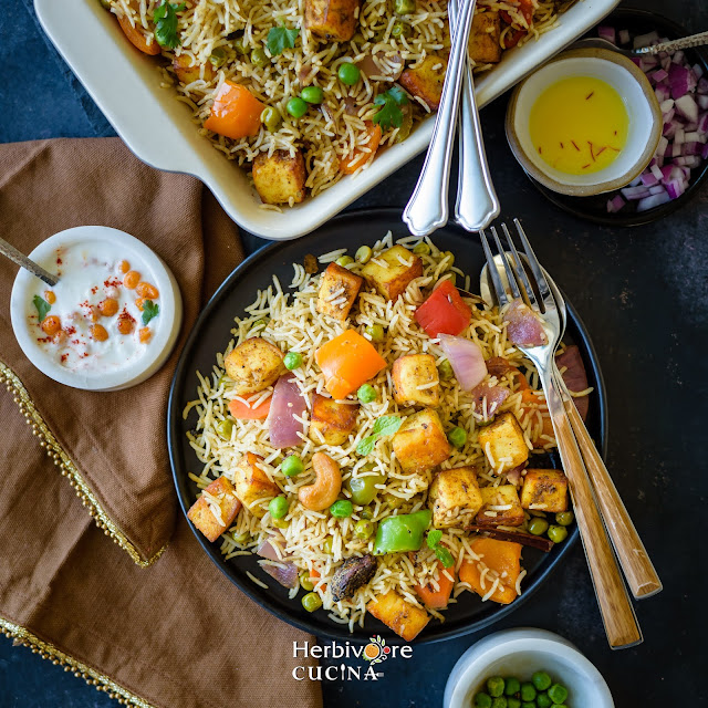 Plate of vegetable and paneer biryani