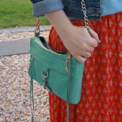 red printed maxi skirt with  Rebecca Minkoff mini MAC in aquamarine with python embossed leather | away from the blue