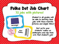 """bright and colorful polka dot job chart... love the visuals!  the pictures will make it perfect even for pre-readers to """"read"""" their classroom job"""