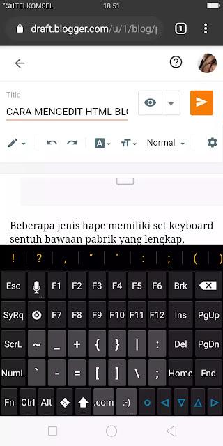 menampilkan karakter pada keyboard layar sentuh