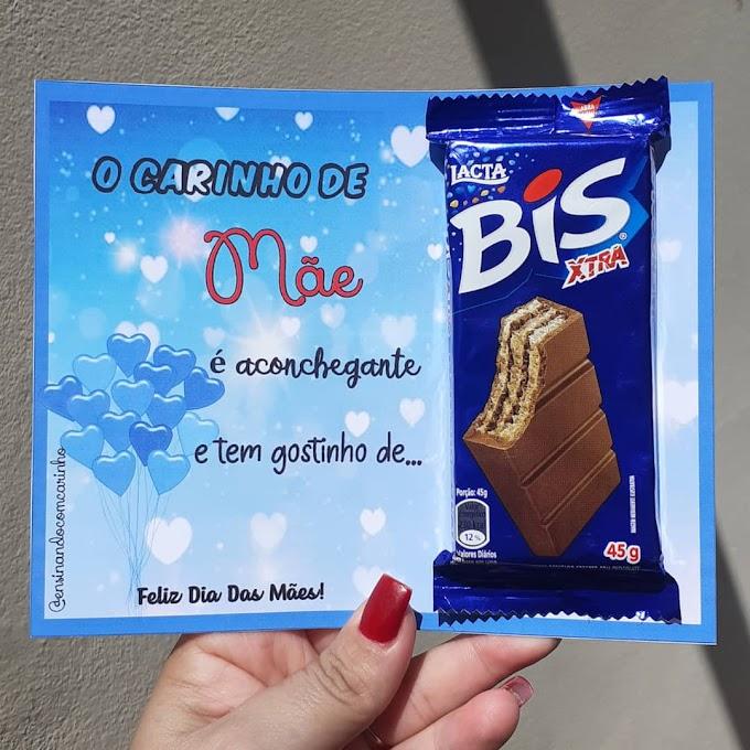 Lembrancinha para o dia das mães com chocolate bis
