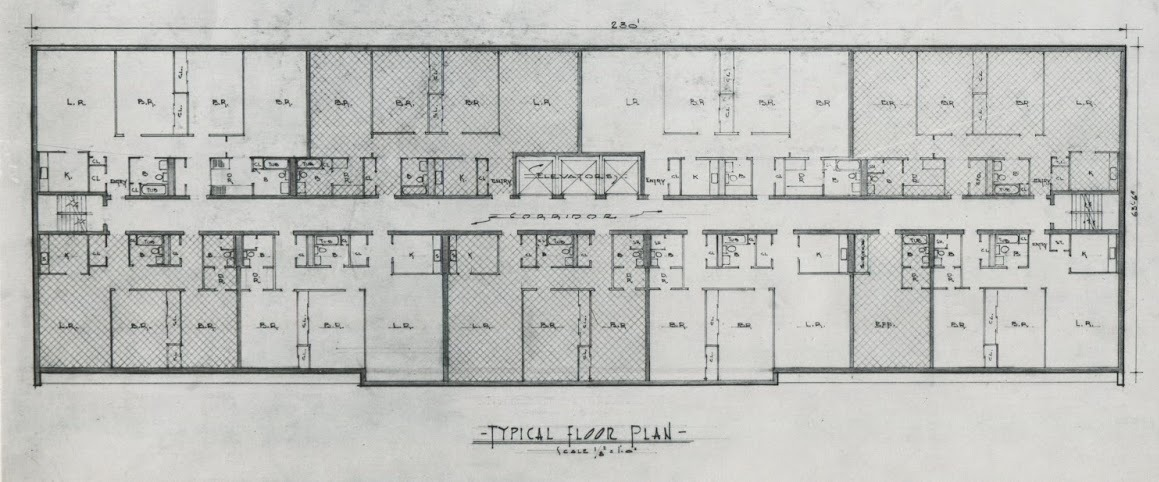 This Typical Floor Plan Of The Apartment Buildings Shows Large Units Nine Per Five Were To Have Two Bedrooms And Four