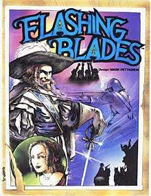 Cover art of Flashing Blades, a role-playing game published by Fantasy Games Unlimited.
