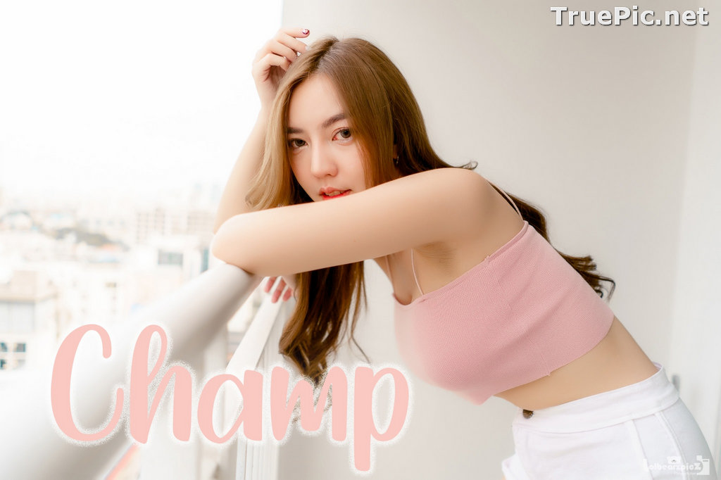 Image Thailand Model - Champ Phawida - Pink Crop Top and White Short Pants - TruePic.net - Picture-1