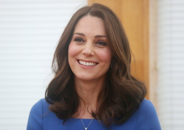 Kate Middleton wore Sportmax coat from Pre Fall 2014 collection and Seraphine royal blue tailored maternity dress