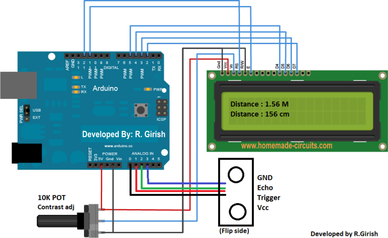 Ultrasonic distance meter circuit using arduino and lcd