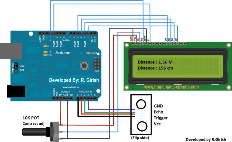 Ultrasonic Distance Meter Circuit Diagram | Ultrasonic Distance Meter Circuit Using 16x2 Lcd Homemade Circuit