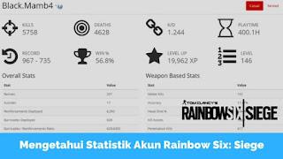 Cara Mengetahui Statistik Akun Rainbow Six Siege