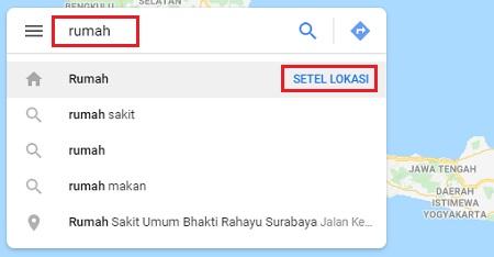 kolom pencarian di Google Maps