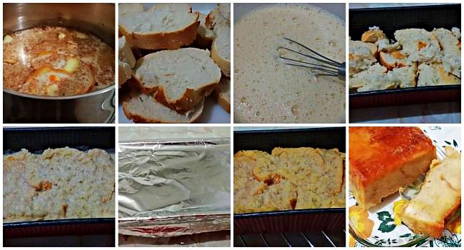 Preparación del pudín de pan con menos calorías