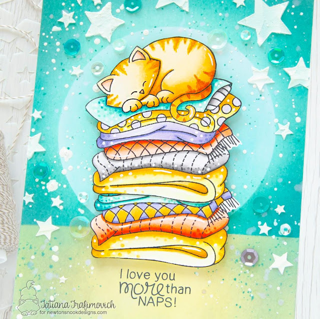 Love You More than Naps Kitty Card by Tatiana Trafimovich | Newton's Naptime Stamp Set and Starfield Stencil by Newton's Nook Designs #newtonsnook #handmade