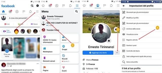 registro attività facebook su mobile