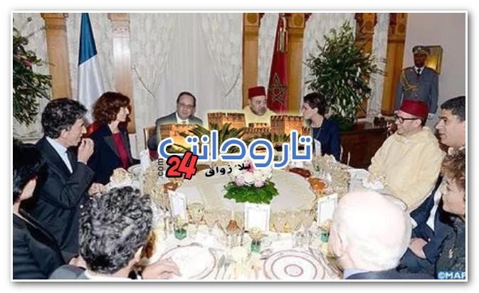 الملك يقيم مأدبة عشاء على شرف الرئيس الفرنسي