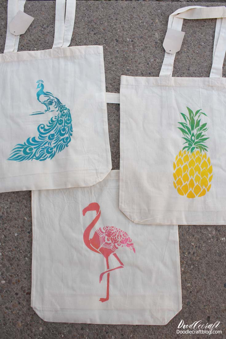 Great for summer beach bags, pool bags or summer time library trips!  Fun craft for youth groups and summer camps.  Which one is your favorite?  I love all three together!