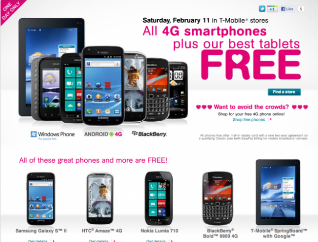 T-Mobile Cyber Monday Deals We can expect some awesome Cyber Monday sales this year from T-Mobile. One of the offers last year was a free Apple iPad if shoppers switched to T-Mobile and added service to the device.