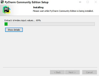 The ongoing pycharm community installation process