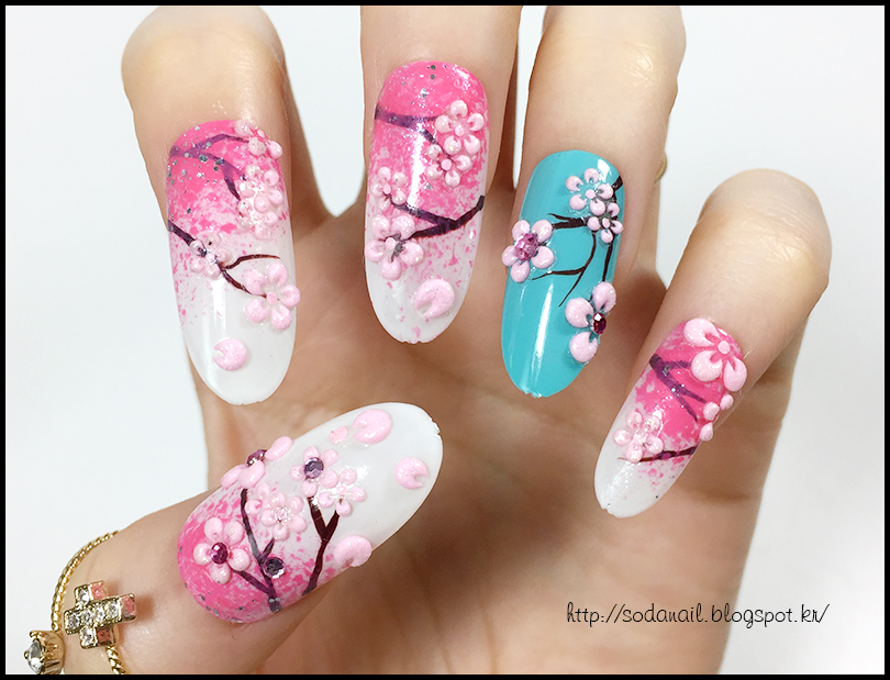 how to draw cherry blossoms on nails