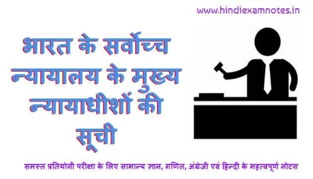 भारत के सर्वोच्च न्यायालय के  मुख्य न्यायाधीशों की सूची