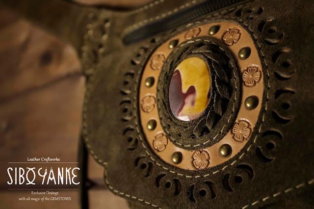 Leather Utility Belt-Hip Belt-Belt Bag-Waist Bag with Mokaite Stone HANDMADE by Sibo Yanke
