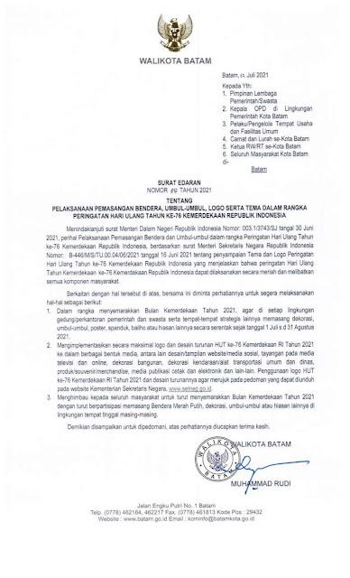 Rudi Terbitkan Surat Edaran Himbau Masyarakat Kibarkan Bendera Merah Putih Selama Bulan Agustus