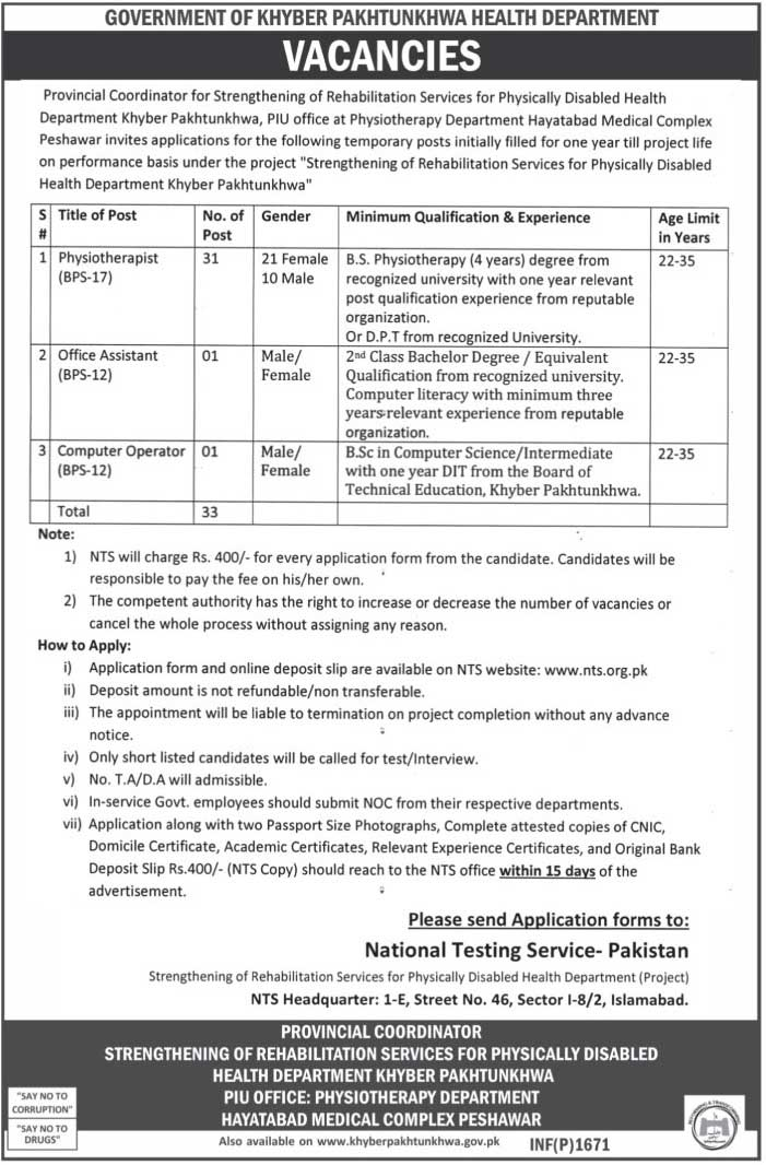 Jobs in Health Department Government Of Khyber Pakhtunkhwa