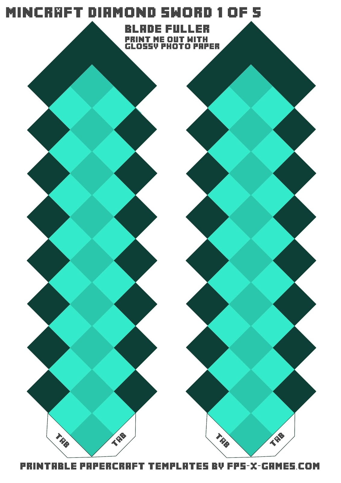 Minecraft diamond sword template one of five for Minecraft bookmark template