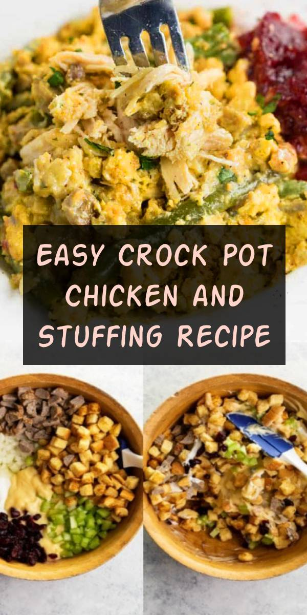 This easy Crock Pot Chicken and stuffing recipe will quickly become one of your favorite family dinners! #chicken #stuffing #crockpot #slowcooker #comfortfood #dinner