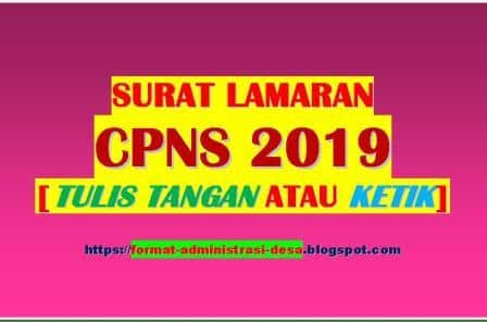 Contoh Surat Lamaran Cpns 2019 Tulis Tangan Atau Ketik Format Doc Pdf Format Administrasi Desa