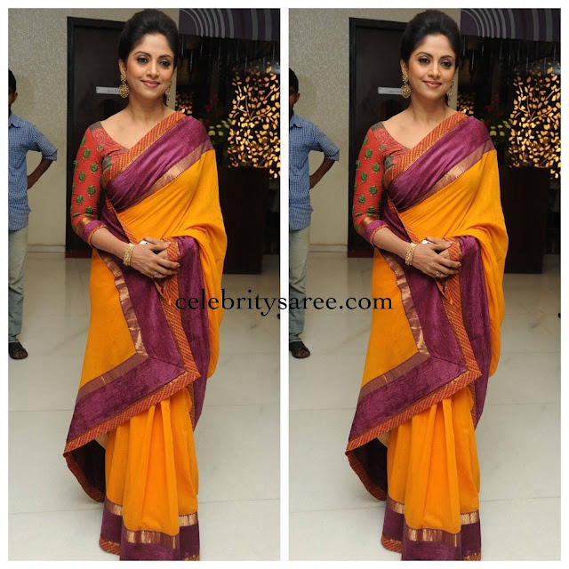 Nadhiya Pink Yellow Saree