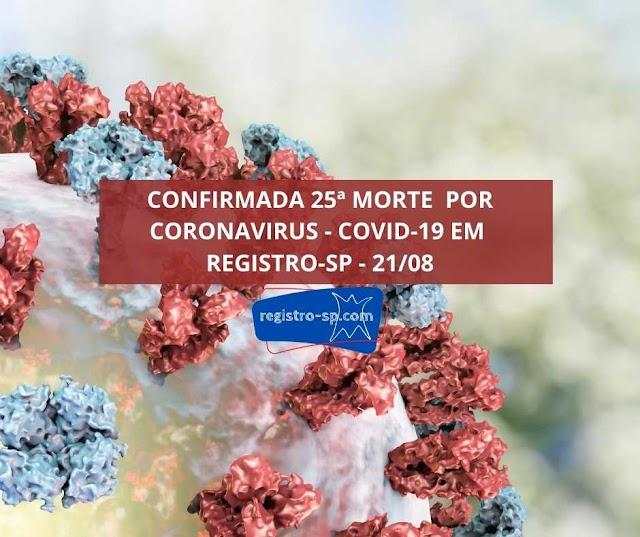 Registro-SP confirma 25 óbitos por Corornavirus - Covid-19