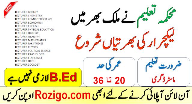 Govt Lecturer Jobs 2020 BPS-17