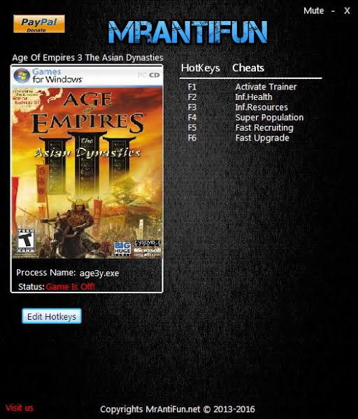 Age Of Empires 3 The Asian Dynasties V1.03 Trainer +5 Mod
