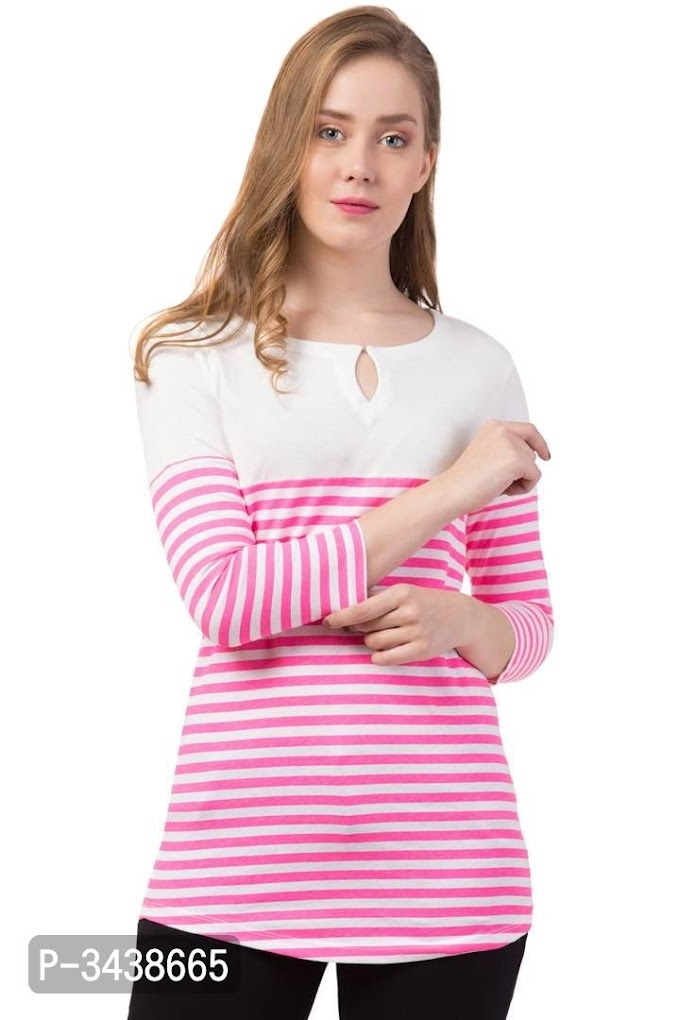 *Striped Keyhole Neck Women's Long T-Shirt*