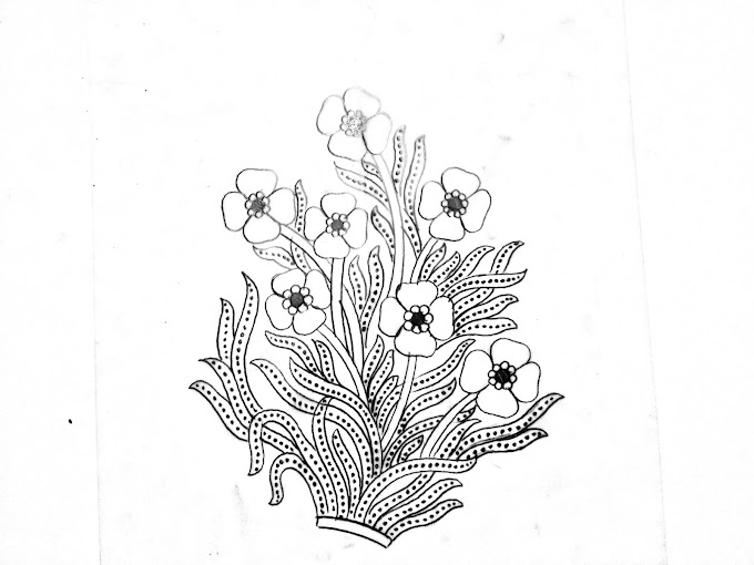 Top 5 flowers design pencil sketch on tracing paper for hand emroidery saree design