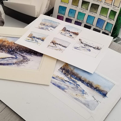 Making small watercolor sketches for planning. © 2021 Christy Sheeler Artist