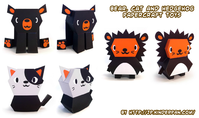 Ninjatoes Papercraft Weblog Simple Bear Cat And Hedgehog