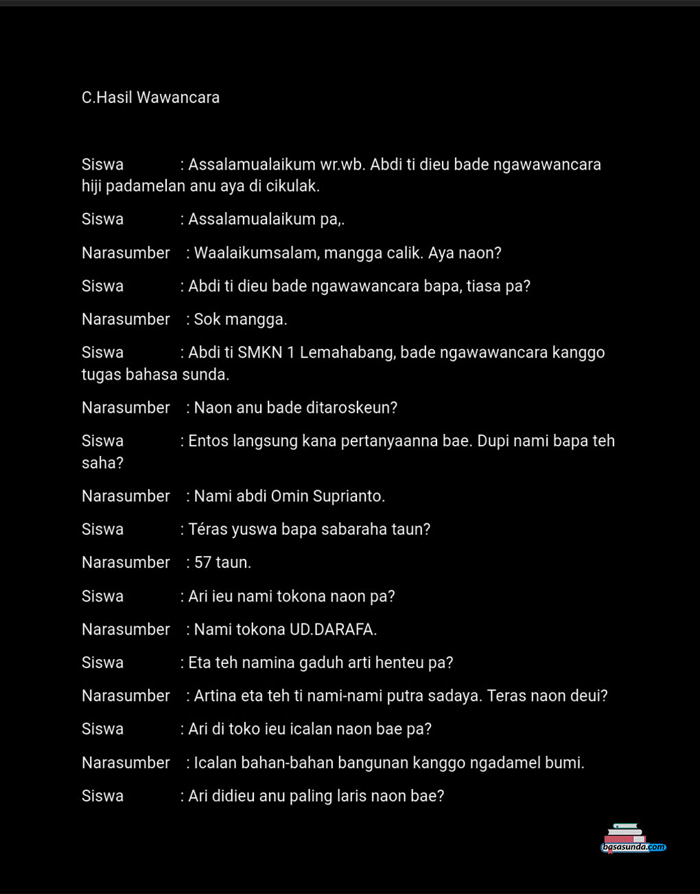 Contoh Laporan Wawancara Bahasa Sunda Surat Cc