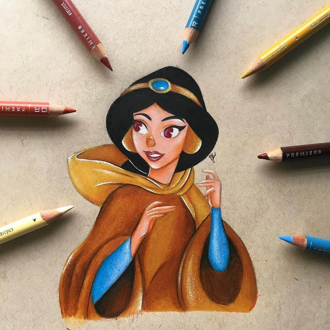 06-Princess-Jasmine-Aladin-Tabitha-Cartoon-and-Animation-Characters-in-Drawings-www-designstack-co