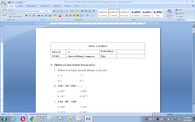 Soal ulangan harian matematika kelas 6 materi operasi hitung campuran