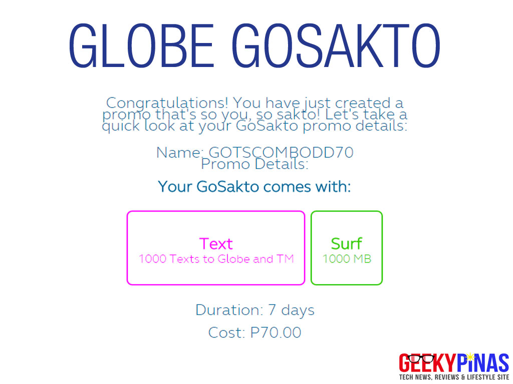 Globe GoSAKTO promo offers 1000 texts & 1000MB (1GB) for only Php70 a week