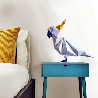 Model Burung Beo Dekorasi Dinding Kertas 3D