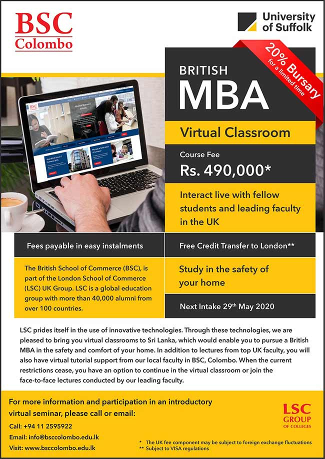 Exclusive offer of 100,000 off for the May 2020 MBA intake.
