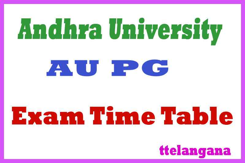 Andhra University AU PG Exam Time Table