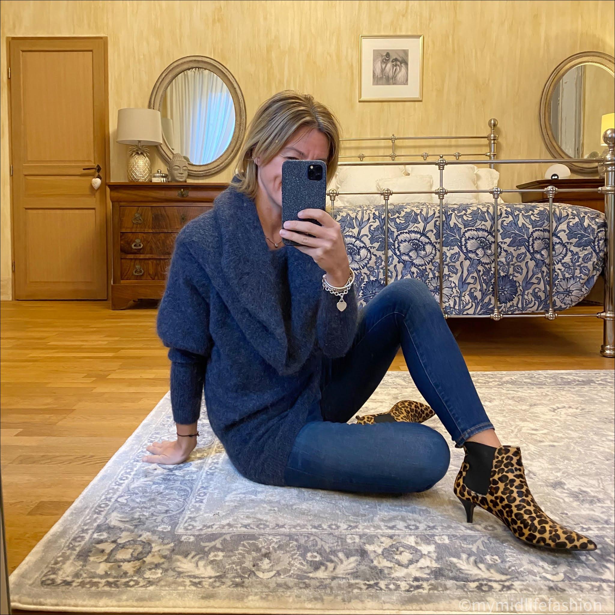 my midlife fashion, acne studios cowl neck longline jumper, j crew 8 inch toothpick skinny jeans, hush leopard print kitten heel ankle boots