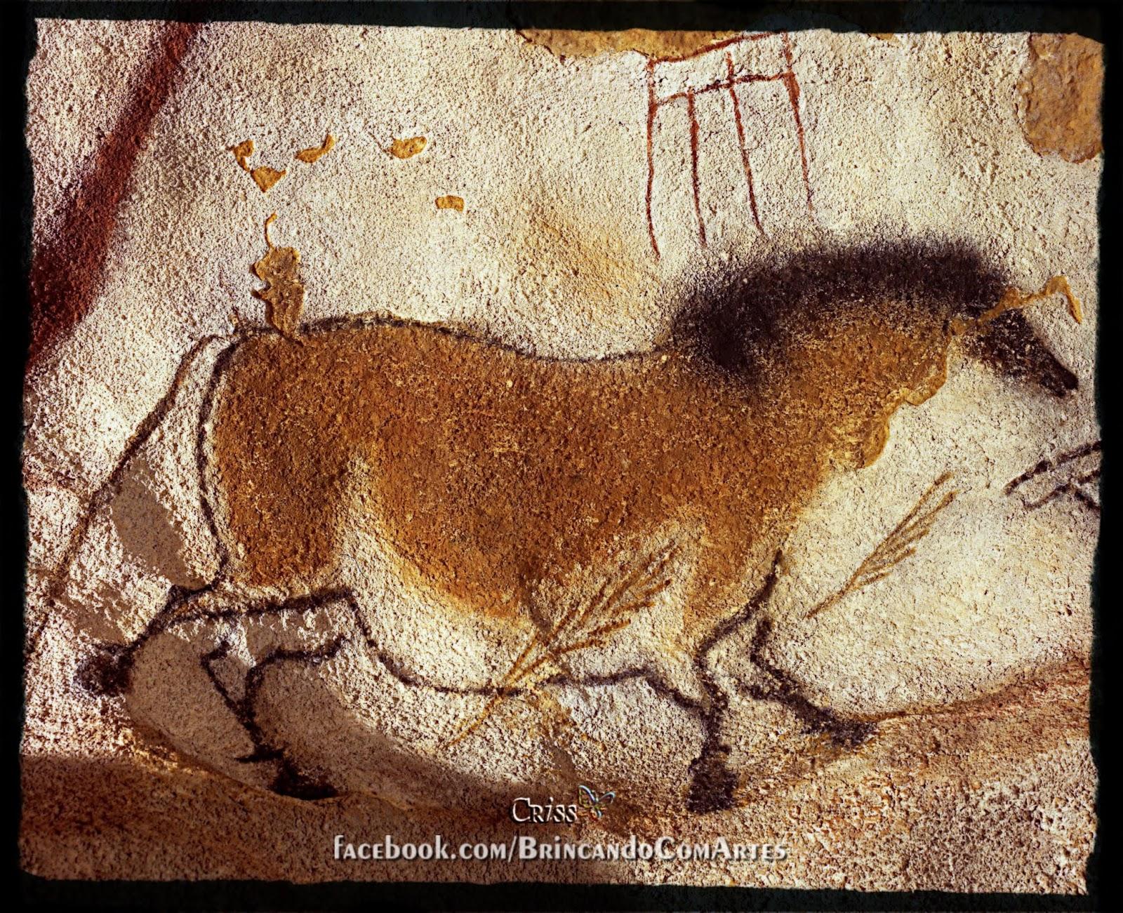 """Pintura de """"Cavalo Amarelo"""" encontrado na caverna Lascaux, Frrança"""