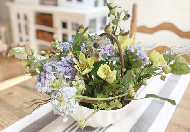hydrangea flower arrangement on kitchen table