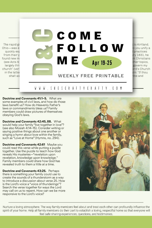 Come Follow Me Printable for Doctrine and Covenants  April 19-25, Pinterest Pin.