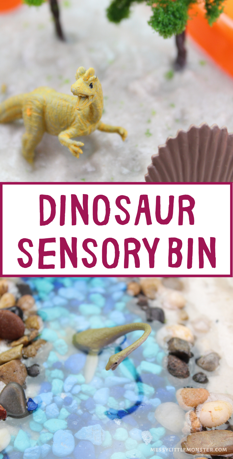 Dinosaur sensory bin. Easy dinosaur activities for toddlers and preschoolers.